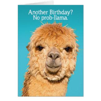 おもしろいProblamaのラマの誕生日の知恵無し グリーティングカード