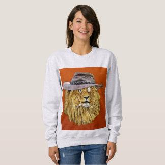 おもしろTシャツ、ライオンの喫煙のタバコ スウェットシャツ