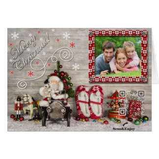 おもちゃのクリスマス音楽写真カードとのヴィンテージサンタ カード
