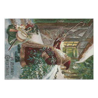 おもちゃのコテージのサンタクロースのクリスマスツリー袋 ポスター