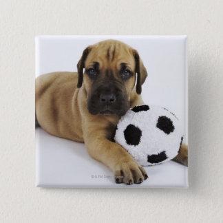 おもちゃのサッカーボールを持つグレートデーンの子犬 5.1CM 正方形バッジ