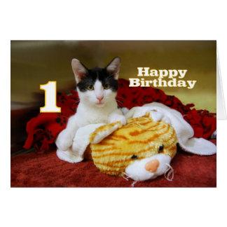 おもちゃのトラを持つ最初誕生日の子ネコ カード