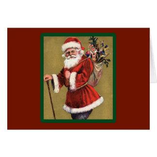 おもちゃのバッグ-クリスマスカードとのヴィンテージサンタ カード