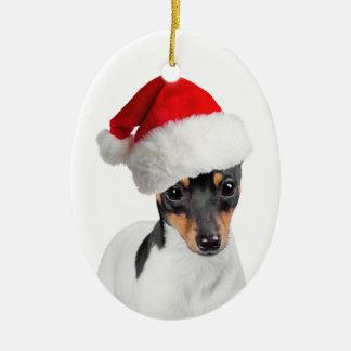 おもちゃのフォックステリア犬のクリスマスのオーナメント セラミックオーナメント