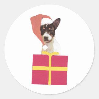 おもちゃのフォックステリア犬のサンタの帽子 ラウンドシール