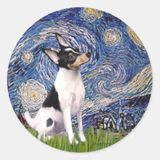 おもちゃのフォックステリア犬-星明かりの夜 ラウンドシール