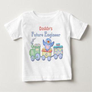 おもちゃの列車のブルーバード未来のエンジニアのベビー-お父さん ベビーTシャツ
