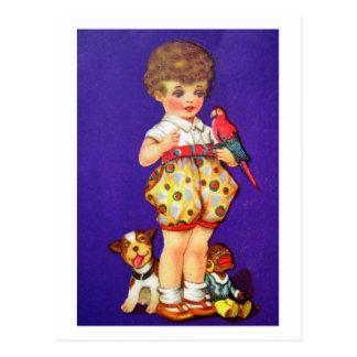 おもちゃを持つ子供 ポストカード