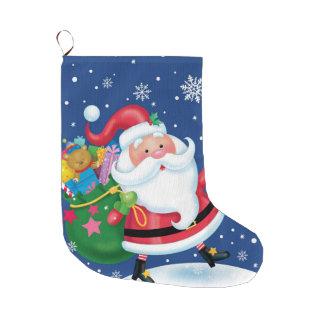 おもちゃを渡すサンタ ラージクリスマスストッキング