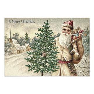 おもちゃ教会のサンタクロースのクリスマスツリー袋 フォトプリント