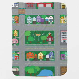 おもちゃ車の町の道路図 ベビー ブランケット