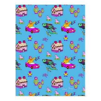おもちゃ-ピンクのおもちゃの家及びターコイズ凧 ポストカード