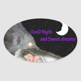 おやすみなさい 楕円形シール