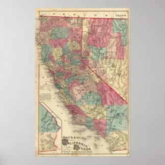 およびネバダカリフォルニア州の地図 ポスター