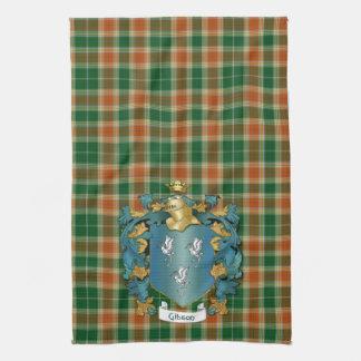 および古代タータンチェックギブソンの紋章付き外衣 キッチンタオル