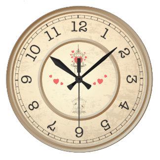 おりの鳥そしてハート ラージ壁時計