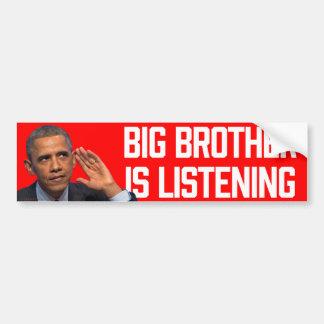 お兄さんはオバマのステッカーを聞いています バンパーステッカー
