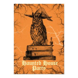 お化け屋敷のパーティーの魔法使いのフクロウの気味悪い木 カード