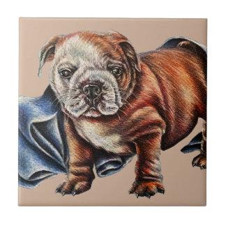 お守り毛布のスケッチを持つかわいいブルドッグの子犬 タイル