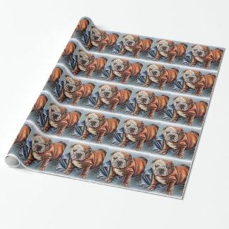 お守り毛布のスケッチを持つかわいいブルドッグの子犬 ラッピングペーパー