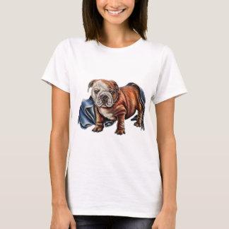 お守り毛布のスケッチを持つかわいいブルドッグの子犬 Tシャツ