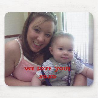 お母さんおよびノア、私達は!愛します!! XOXO、私達は…愛します マウスパッド