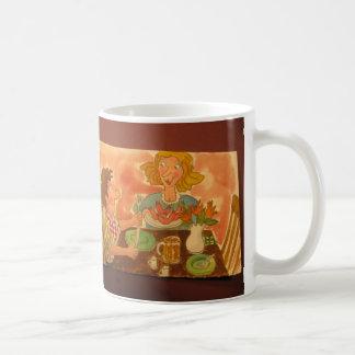 お母さんおよびパパは互いおよびホットドッグを愛します コーヒーマグカップ