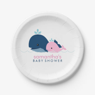 お母さんおよびベビーのクジラのベビーシャワー{ピンク} ペーパープレート