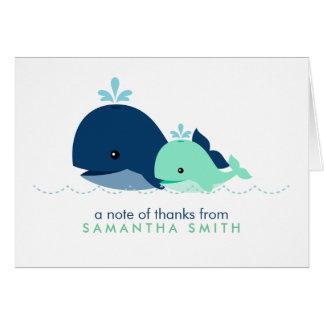 お母さんおよびベビーのクジラのベビーシャワー{緑} カード