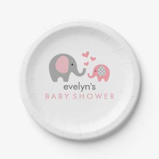 お母さんおよびベビー象のベビーシャワーの紙皿のピンク ペーパープレート