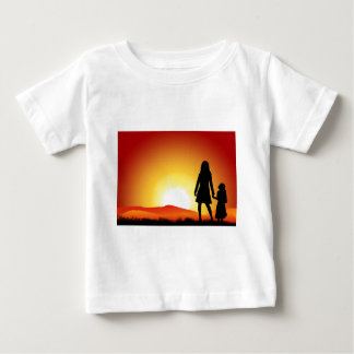 お母さんおよび日没 ベビーTシャツ