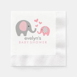 お母さんおよび赤ん坊象のベビーシャワーのナプキンのピンク 縁ありカクテルナプキン