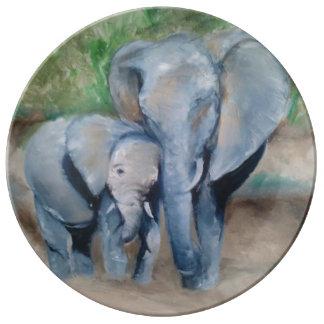 お母さんおよび赤ん坊象の磁器皿 磁器プレート