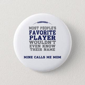 お母さんのお気に入りのなフットボール選手の青及び灰色ボタン 5.7CM 丸型バッジ