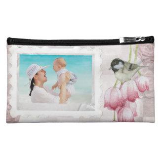 お母さんのためのカスタムな写真のスエードの化粧品のバッグ コスメティックバッグ