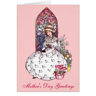 お母さんのための女の子、ステンドグラス窓及びチューリップ カード