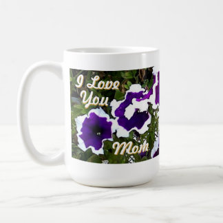 お母さんのための紫色のペチュニア コーヒーマグカップ