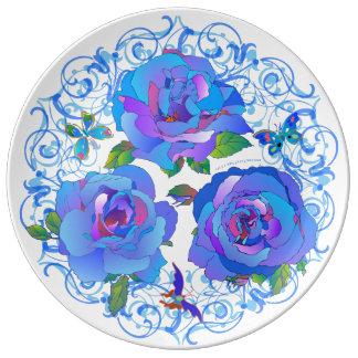 お母さんのための「BlueRoses」の磁器皿 磁器プレート