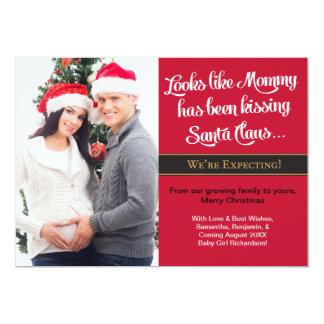 お母さんのキスをするなクリスマスの妊娠の発表 12.7 X 17.8 インビテーションカード