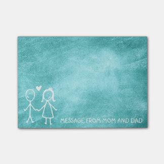 お母さんのパパ家族メッセージの黒板のミントの菓子 ポストイット