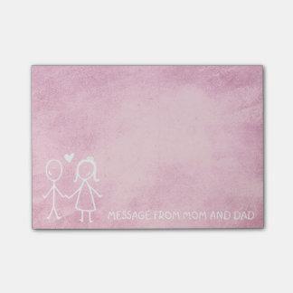 お母さんのパパ家族メッセージのChalboardのピンクの菓子 ポストイット