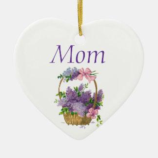 お母さんのヴィンテージの紫色のライラックの旧式な花の花束 セラミックオーナメント