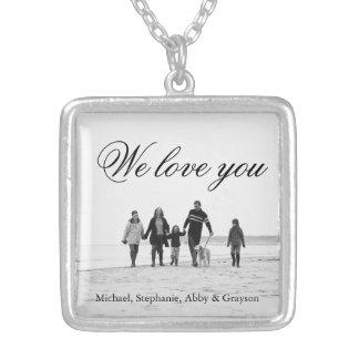 お母さんの家族写真のネックレスのための愛 シルバープレートネックレス