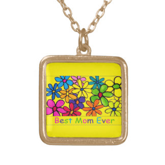お母さんの最も最高のなお母さんの花 ゴールドプレートネックレス
