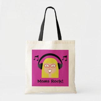 お母さんの石! ヘッドホーンを持つブロンドの漫画のお母さん トートバッグ