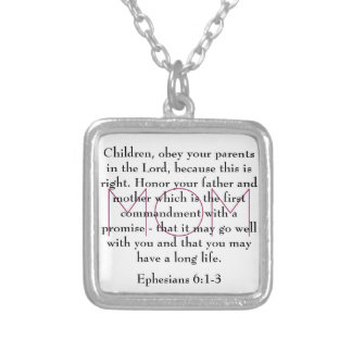 お母さんのEphesiansの6:1の聖書の詩- 3ネックレス シルバープレートネックレス