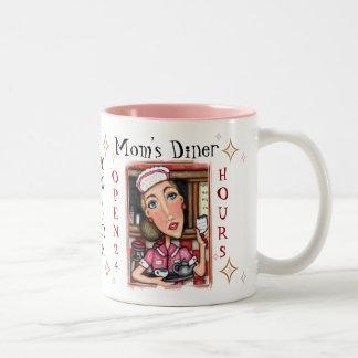 お母さんまたはカスタムのダイナーのウェートレスのコーヒー・マグ ツートーンマグカップ