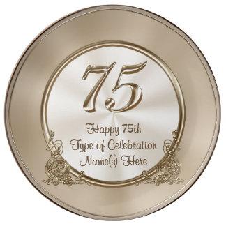 お母さんまたは妻のための名前入りな第75誕生日のアイディア 磁器プレート
