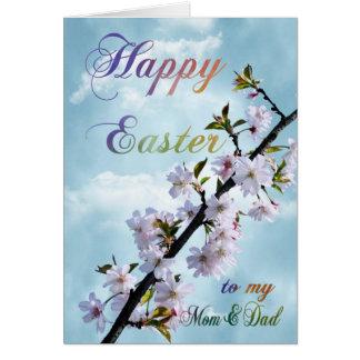 お母さん及びパパのためのハッピーイースターの春の花 カード