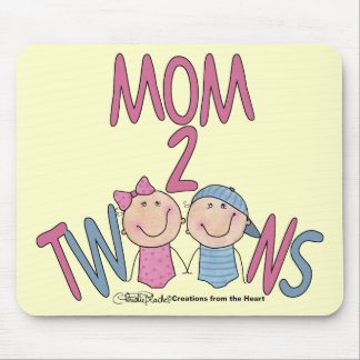 お母さん2の双生児男の子および女の子 マウスパッド